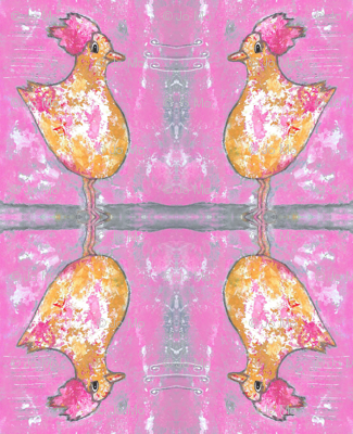 Rooster Chicken on Pink