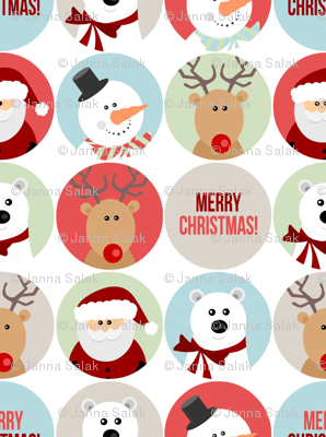 Cute Christmas Character Circles