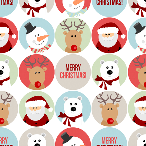Cute Christmas Character Circles fabric by jannasalak on Spoonflower - custom fabric
