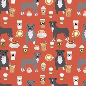 Pitbull grey coat coffee latte cafe fabric dog breed red orange