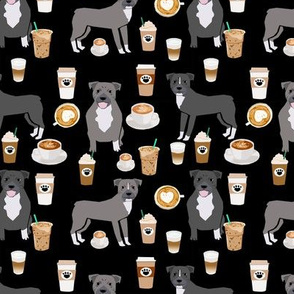 Pitbull grey coat coffee latte cafe fabric dog breed  black
