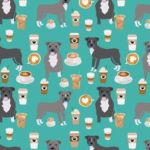 Pitbull grey coat coffee latte cafe fabric dog breed  turquoise