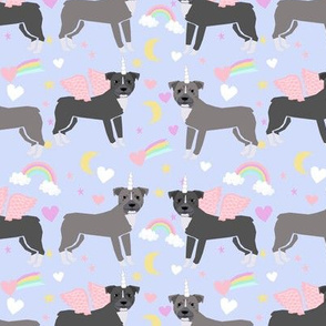 Pitbull unicorn magic rainbows fabric dog breed pastel purple