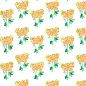 Peach Coral Yellow Watercolor Bouquet Floral Summer Flower _Miss Chiff Designs