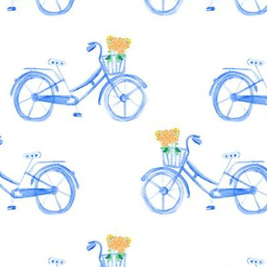 Bike Bicycle Large || Blue Watercolor Floral || Summer flower  _ Miss Chiff Designs