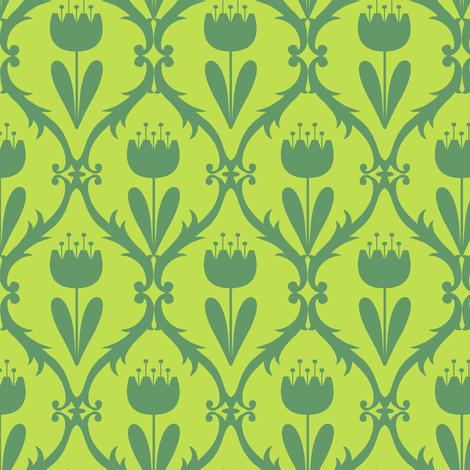 scandi_tulip_on_lime fabric by studiojenny on Spoonflower - custom fabric