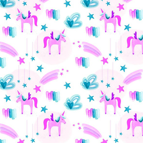 Electric Pink Unicorns Stars and Clouds // Small