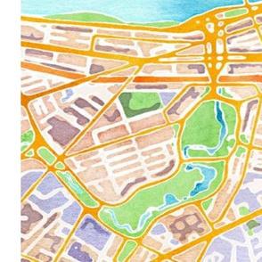 Boston watercolor map fabric sized for fat quarter linen-cotton