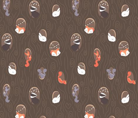 Funny hollows - dark fabric by ewa_brzozowska on Spoonflower - custom fabric