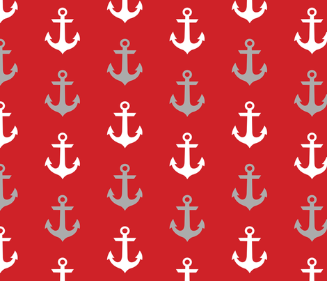 anchor_3_inch_white_grey_on_red fabric by lisamhaar on Spoonflower - custom fabric