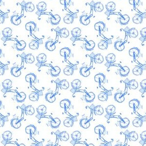 Blue Watercolor Bike Tossed Small || White Bicycle summer transportation _ Miss Chiff Designs