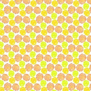 17-12T Floral Dots Watercolor || Peach coral orange lime green yellow || Summer spots Flower _ Miss Chiff Designs