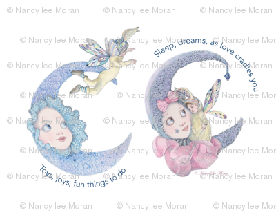 Pillow Size Fairy Baby and Moon