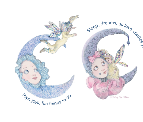 Pillow Size Fairy Baby and Moon fabric by nancy_lee_moran_designs on Spoonflower - custom fabric
