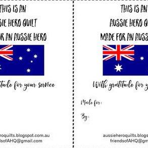 Aussie Hero Quilt Labels
