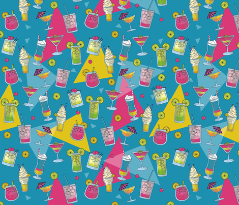 Cocktail hour in blue fabric by anitaboeira on Spoonflower - custom fabric