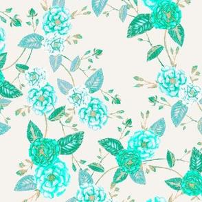 Orient Roses Chinoserie Aqua Vanilla