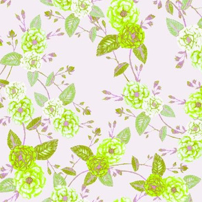 Orient Roses Chinoserie Lime & Lilac Mist