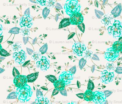 OrientRoses Chinoserie Aqua Turquoise Vanilla