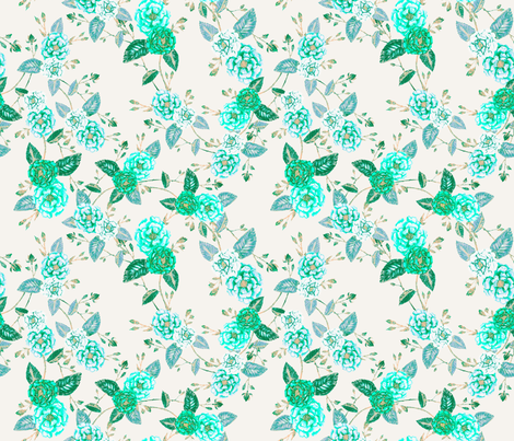 OrientRoses Chinoserie Aqua Turquoise Vanilla fabric by thistleandfox on Spoonflower - custom fabric