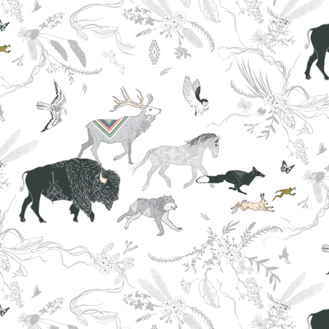 Stampede (SMALL) (white) fabric by nouveau_bohemian on Spoonflower - custom fabric