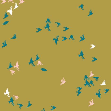 Sheba Flock (chartreuse)  fabric by nouveau_bohemian on Spoonflower - custom fabric