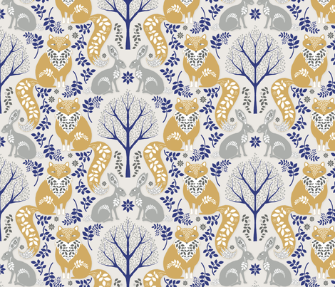 The_Fox_and_the_Hare fabric by j9design on Spoonflower - custom fabric