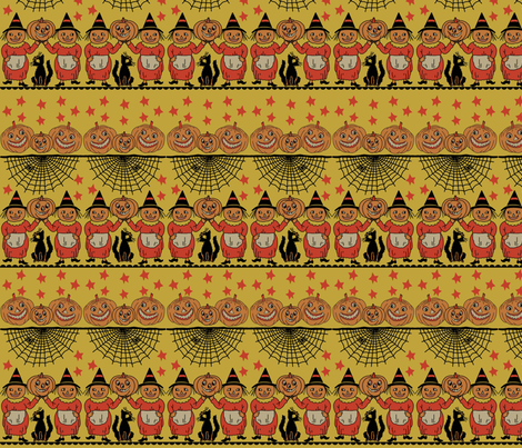 Pumpkin People yellow fabric by heidikenney on Spoonflower - custom fabric