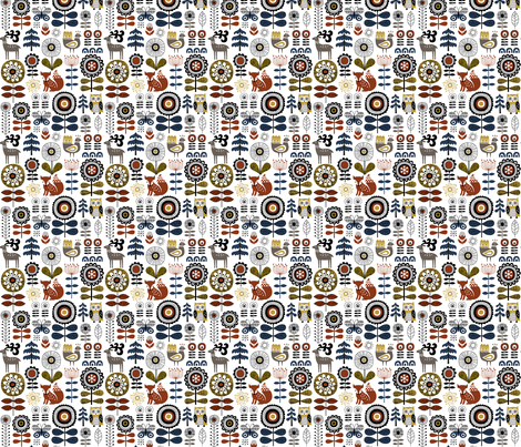 woodland story - white // updated fabric by mirabelleprint on Spoonflower - custom fabric