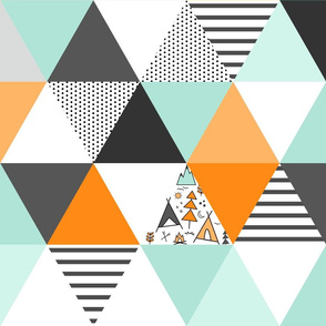Adventure Triangle Wholecloth - Orange and Gray