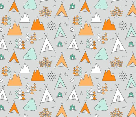Adventure Orange Mint On Gray Fabric