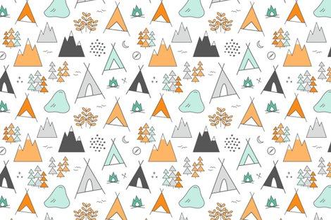 Adventure Orange Mint On White Fabric