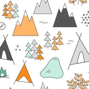 Adventure - Orange & Mint on White