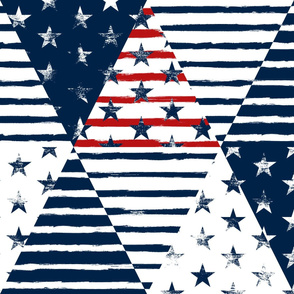 Stars and Stripes Triangle Wholecloth (Grunge Painted Vintage Distressed 4th of July, Red White and Blue, American Flag)