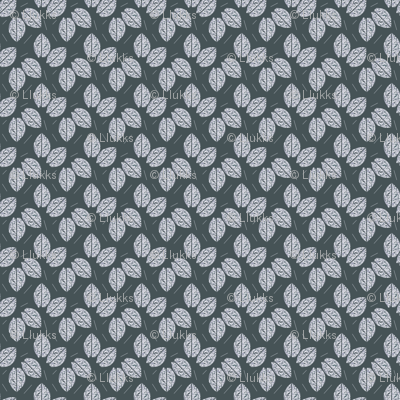 White Leaves on Greenish Gray Upholstery Fabric