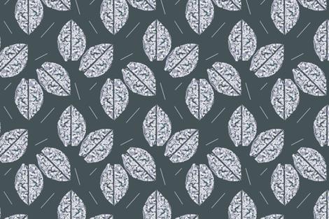 White Leaves on Greenish Gray Upholstery Fabric fabric by llukks on Spoonflower - custom fabric