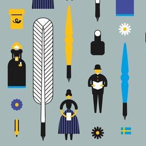 Swedish Folk Pattern Light Gray