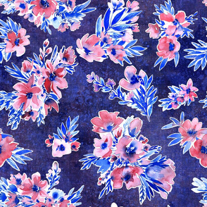 french blue vichy flowers modern bohemian vintage