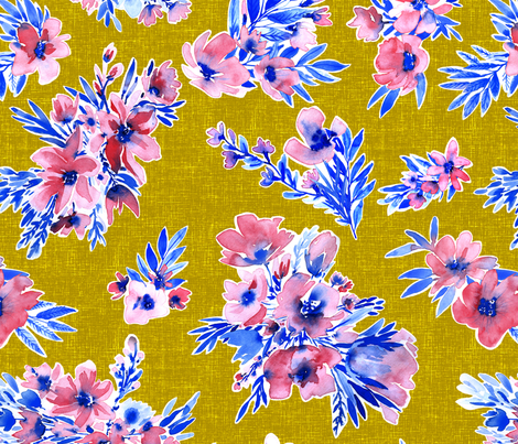 French Flowers on mustard yellow trend winter2017/2018 fabric by rebecca_reck_art on Spoonflower - custom fabric