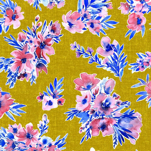 French Flowers on mustard yellow trend winter2017/2018