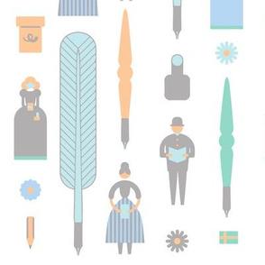 Swedish Folk Pattern Pastel Blue
