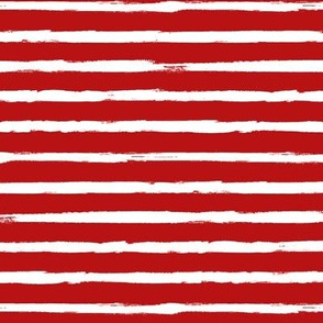 White Painted Stripes on Red (Grunge Vintage Distressed 4th of July American Flag Stripes)
