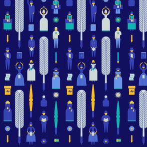 Swedish Folk Pattern Navy Background