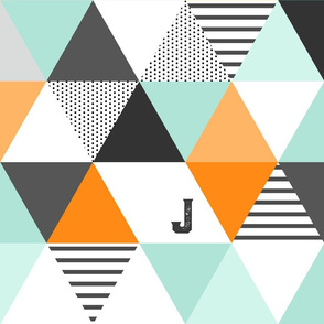 Letter J Initial Triangle Wholecloth
