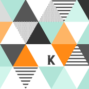 Letter K Initial Triangle Wholecloth