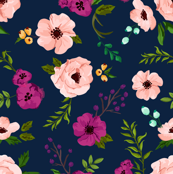 THINNED out Josie Meadow Floral on Navy MEDIUM scale