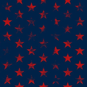 Distressed Red Stars on Navy Blue (Grunge Vintage 4th of July American Flag Stars)