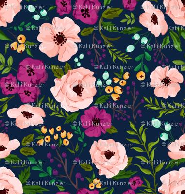 Medium Scale Josie Meadow Floral on Navy MEDIUM