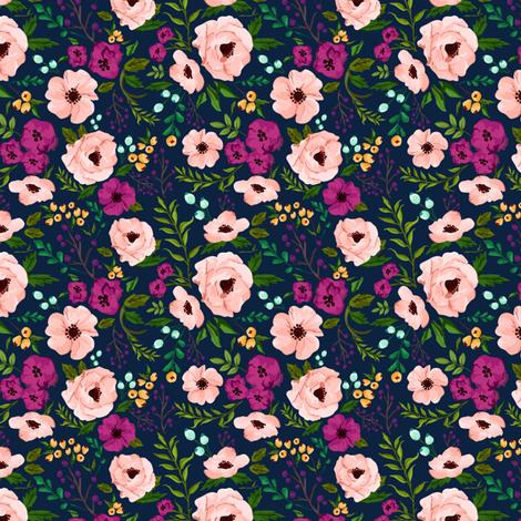 Medium Scale Josie Meadow Floral on Navy MEDIUM fabric by sweeterthanhoney on Spoonflower - custom fabric