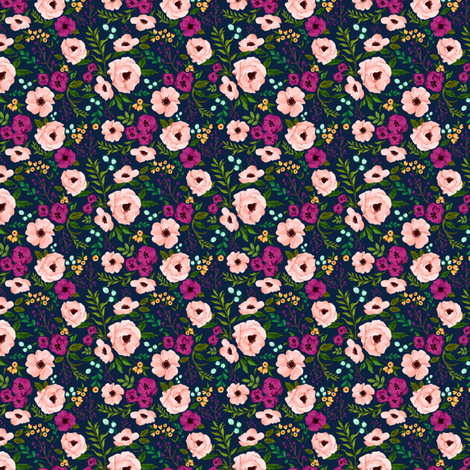 MINI Josie Meadow Floral on Navy fabric by sweeterthanhoney on Spoonflower - custom fabric